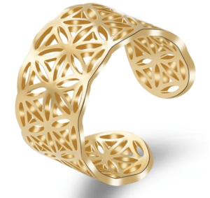 Ring Blume des Lebens Edelstahl - goldfarbig Größenverstellbar_voll