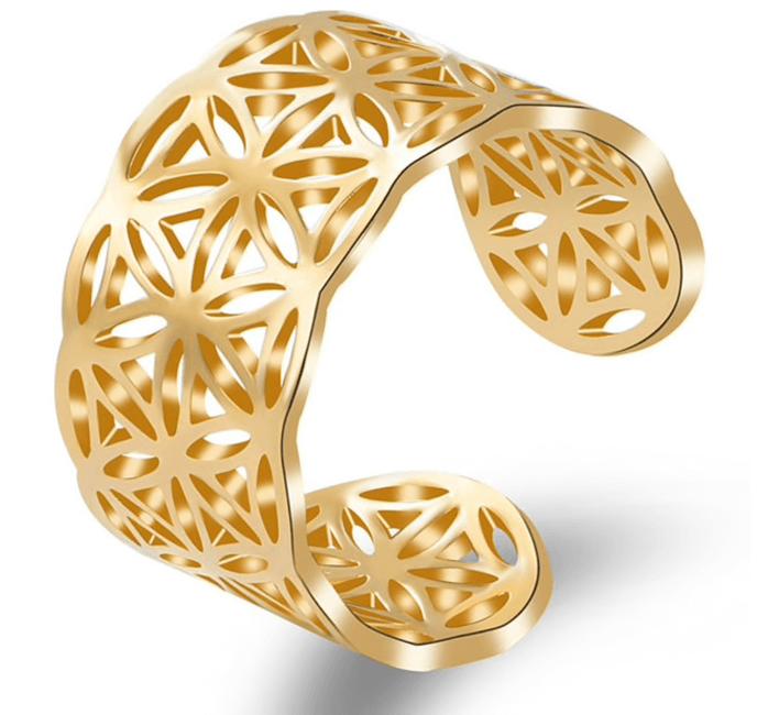 Blume des Lebens Ring Edelstahl - Größenverstellbar