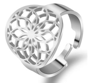 Ring Blume des Lebens Edelstahl - silberfarbig Größenverstellbar_Oberseite